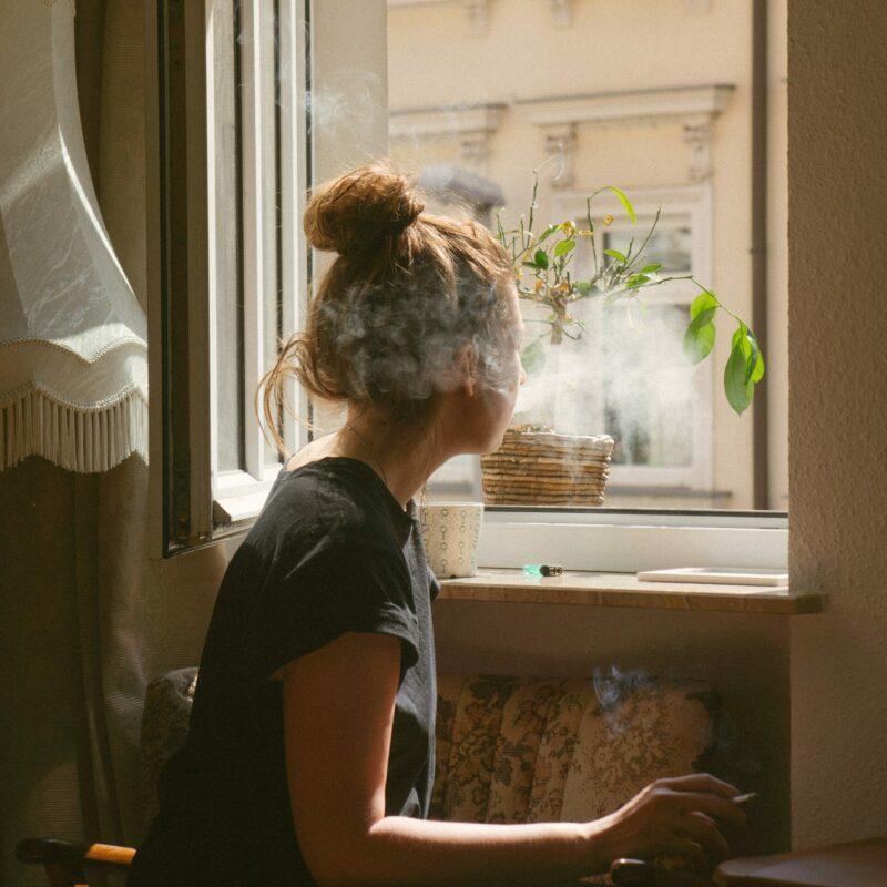Girl smoking marijuana who is addicted