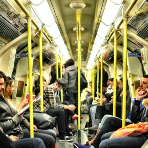 busy tube carriage full of commuters